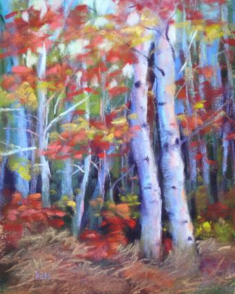 paintings of trees. Fall Colors Birch Trees