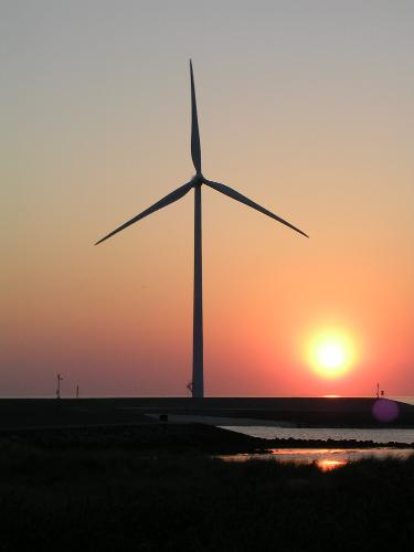 sun set with wind power mill - the netherlands 2008