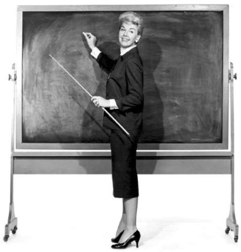 Teacher - Teacher gives lessons to students while writing tasks on the blackboard.