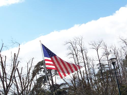 Flag in our town - The flag that use to hang out in front of the Farmers Insurance insurance building