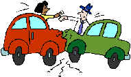 Car Crash - A car crash with two cars, one red and one green.