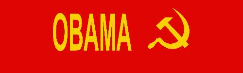 Obama - Socialist, soviet flag hammer and sickle next to Obama's name.