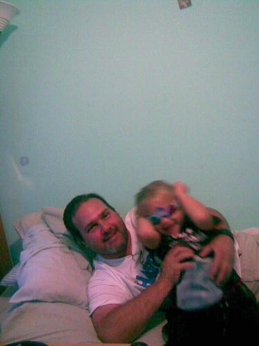 me and my son - wresling on the bed