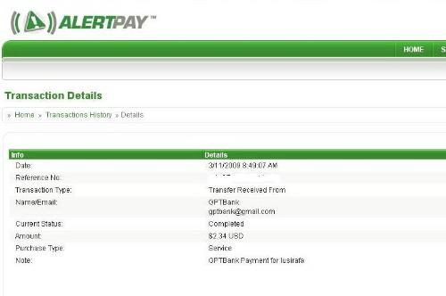 Gptbank payment - First payment from gptbank