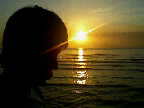 my boyfriend and the sunset - I took this picture when me and my boyfriend was at the beach