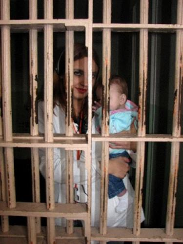 Jail Birds - My daughter and grand daughter in a cell at Alcatraz.