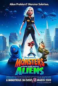 monsters versus aliens poster - the new movie from dreamworks animation with the voices of reese witherspoon, seth rogen and others. it is about a girl hit by a meteorite that becomes giant and considered by the government as monsters. along with the other monster, they become the earth's defense against alien invasion.