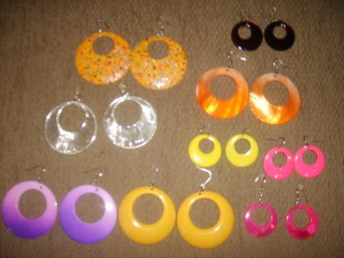 Wearing Earrings - This is a photo of fun colorful hoop earrings.