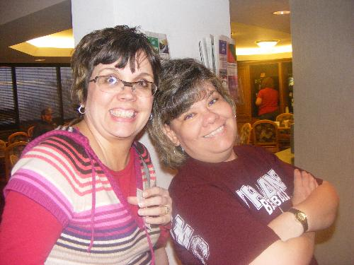 June and I  - This was taken the first weekend in March when my girls met June and her girls in Poplar Bluff Missouri, which is halfway betweeen is!