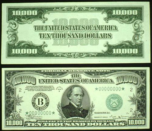 dollor,10,000,highest -  The Federal Reserve used it to transfer money to and from banks and was never issued to the public. They also produced a $500, $1,000, $5,000 and even a $100,000 dollar note, see below. They were last printed in 1945 and have since been discontinued.