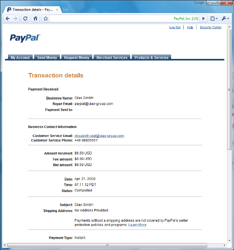 Ciao March 2009 Payment - Ciao GmbH just sent me money with PayPal.