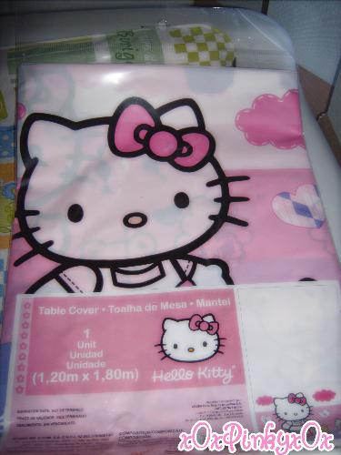 Hello Kitty table cover - A Hello Kitty table cover I bought for my daughter's first birthday.