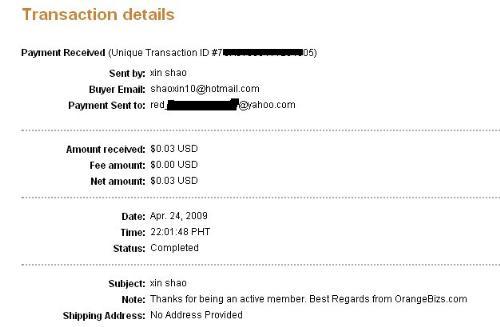orangebiz payment - my first payment from orange biz