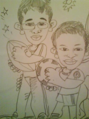 Caricatures - A caricature of me and my little brother.