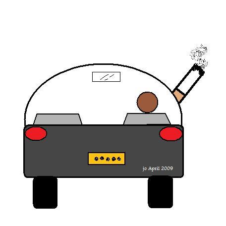 Smoking Driver - The back view of a driver, smoking while driving.