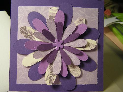 purple crazy flower card - I love this card. I just finished it this morning and listed it on etsy.
