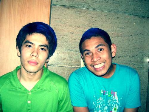 blue haired boys - my friends put blue highlights on their hair