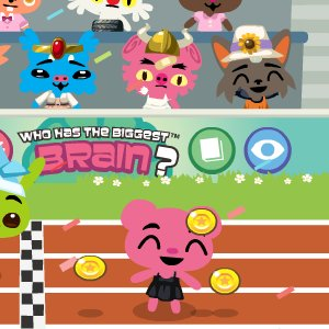 pet society - this is my pet chelse who just won in the a race in the stadium... 30 coins earned and 20 pet points