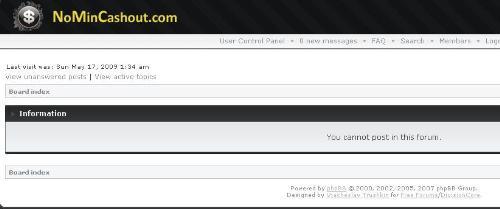nomincashout forum - nomincashout forum didn't allow me to post