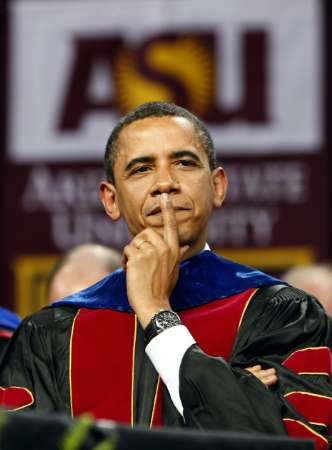 0bama at Arizona State University - 0bama misses his nostril while attempting to pick his nose