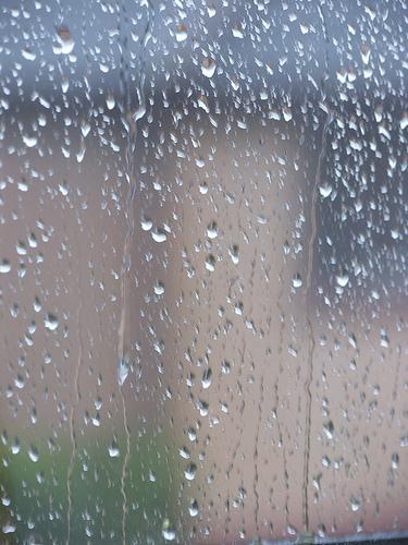 Rain on the window.  - Rain drops on the house window