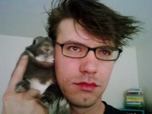 me with glasses, and Tosoon - This is me with some wild hair and my favorite bunny Tosoon