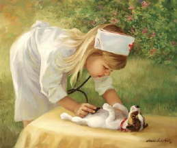 Child Playing Nurse - A child nursing a puppy