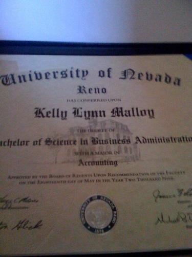 My accounting degree from the University of Nevada - My accounting degree from the University of Nevada Reno