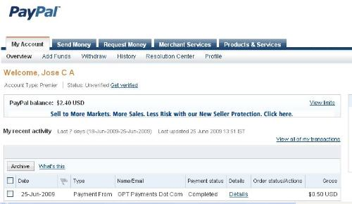 My First Payment - Getpaidto- pticture