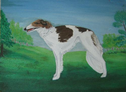 Baby - This is the oil painting my mom did of our dog Baby.
