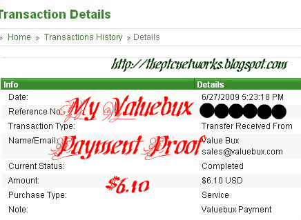 valuebux payment proof - this is my payment proof for valuebux.com, really instant