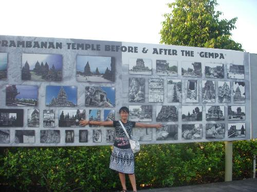 me - took a photo in the entrance of prambanan temple..