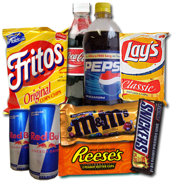 bad snacks - chips, chocolate and soda