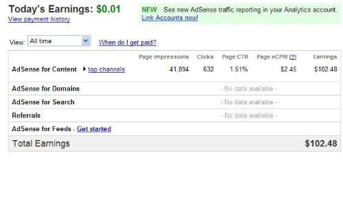 google earnings - my google adsense earnings