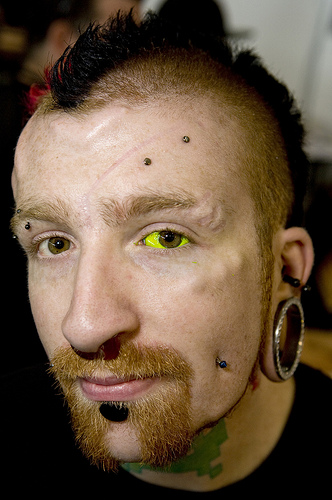 Guy with eyeball tattoo. This guy really just inked his peepers!