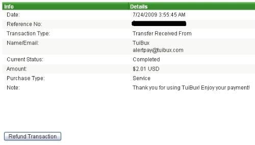 Tuibux Payment Proof - This is the screenshot of AlertPay account showing payment transaction done by Tuibux to AlertPay Account.