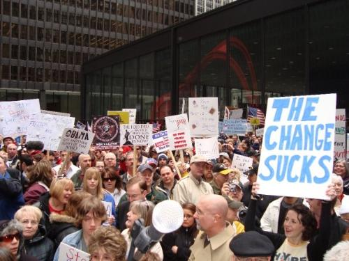 Change Sucks - I like this. This is an image from a protest in Chicago taken recently.