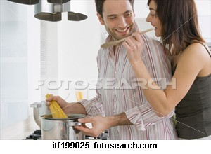 Couple cooking in kitchen - Have you ever share kitchen with your wife?