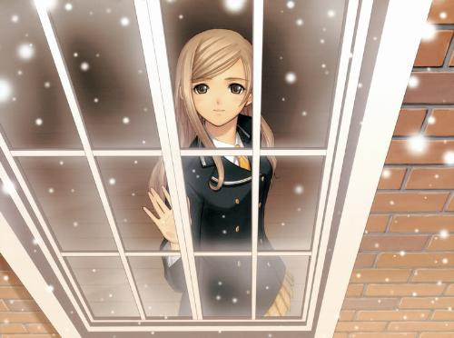 anime girl - anime girl looking at snow from the window