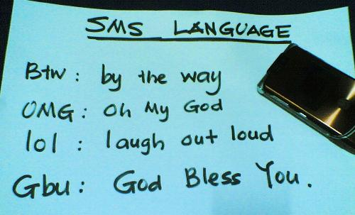 SMS ' Language' - It seems there is a universal new language throughout the world.