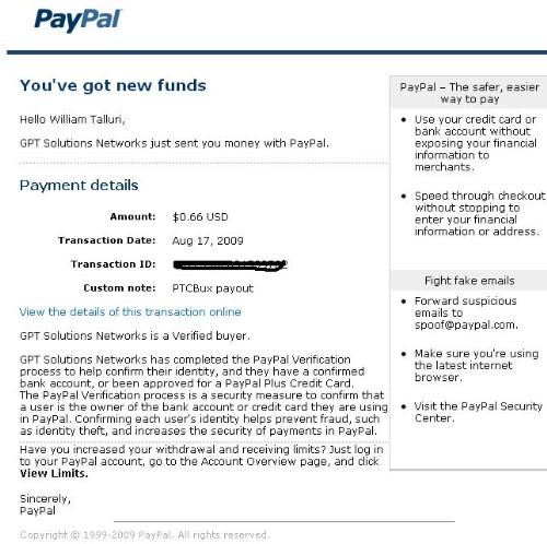 PTC BUX Payment Proof - This is my 7th Payment from PTC BUX.
