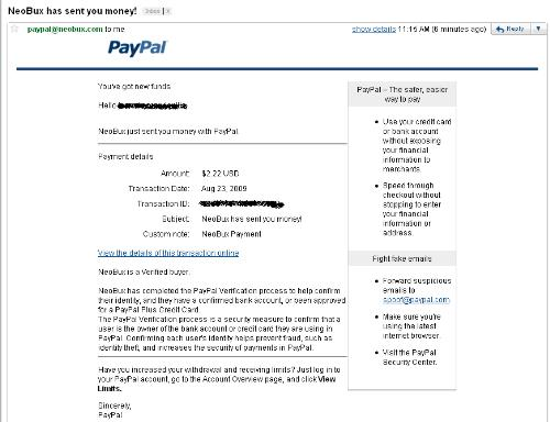 neobux payment proof - check this out, i've been paid by Neobux just today!