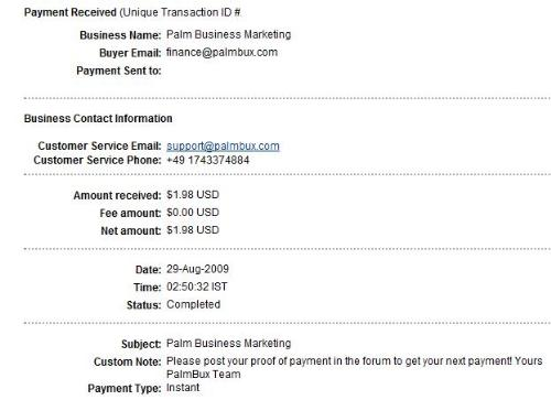 Payment proof - It is my first payment proof of palmbux which is paid by palm bux instantly to my paypal account.