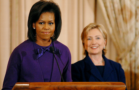 frenemies - Michelle and Hillary Clinton at Black Caucus 2008