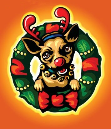 Enjoying The Holidays - A Christmas Puppy with a red nose and a wreath around the puppy