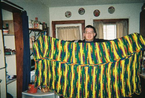 Blanket I crochet and my son - This is the Blanket I did for charity.