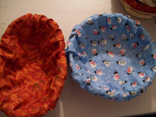 Basket liners - Baskets with liners I sewed for upcoming craft sale.