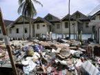 natural disaster - housing hit by a tsunami