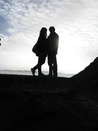 in love silhouette. Silhouette of love