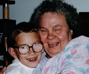 drunken people - drunken grandma and her grandson